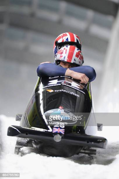 Bruce Tasker and Toby Olubi of Great Britain compete in the 2man Bobsleigh during the BMW IBSF World Cup Bob Skeleton PyeongChang Presented by JIN...