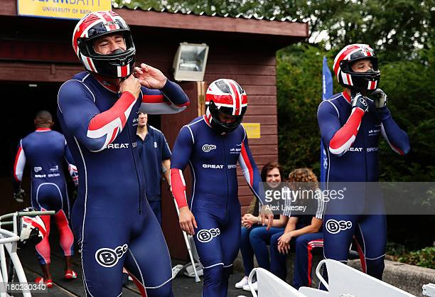 Bruce Tasker Craig Pickering and Stuart Benson of the Great Britain bobsleigh squad prepare for a training run down the bobsleigh push track at Bath...