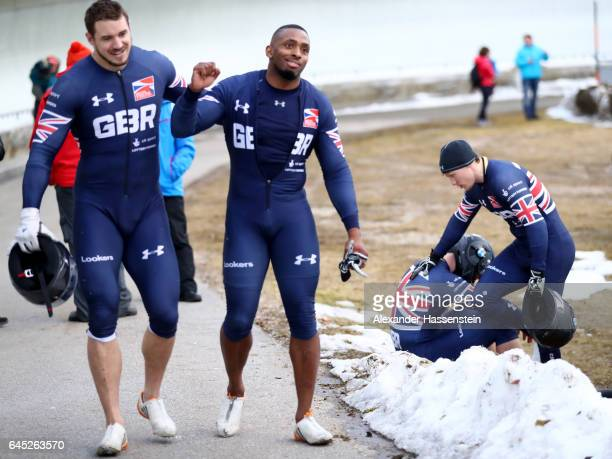 Bruce Tasker Joel Fearon Pilot Bradley Hall and Gregory Cackett of Great Britain reacts after crashing at the second run of the IBSF World...