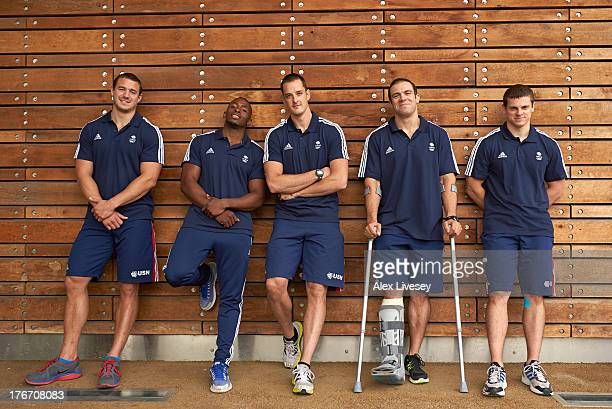 Bruce Tasker Joel Fearon Stuart Benson John Jackson and Craig Pickering of the British Winter Olympic Bobsleigh Team pose for a portrait during the...