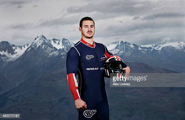 Bruce Tasker of the Great Britain GBR1 bobsleigh team poses for a portrait shoot as he prepares for the Winter Olympics in Sochi Russia Photographed...