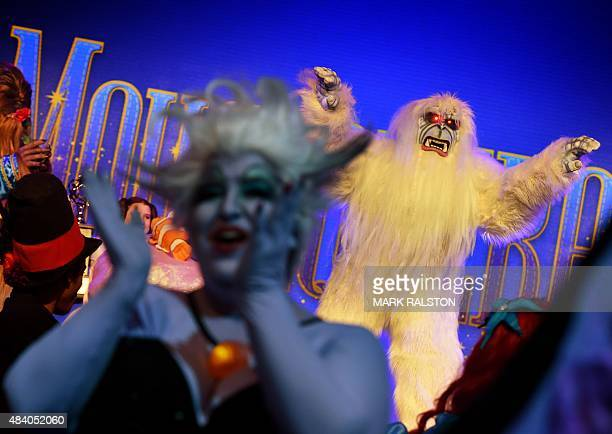 Bruce the Yeti arrives for a costume competition at the Disney D23 EXPO 2015 held at the Anaheim Convention Center in Anaheim California on August 14...