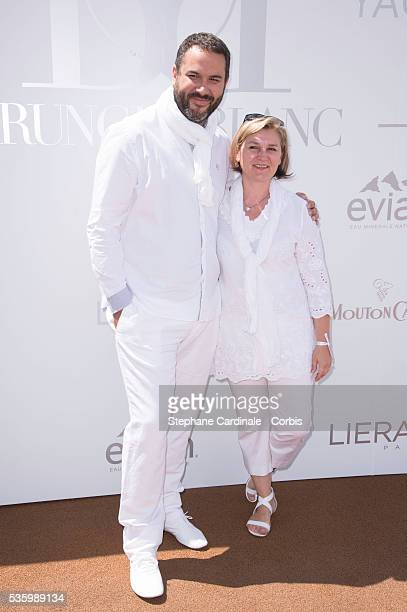 Bruce Toussaint and his wife Catherine attend attend the 'Brunch Blanc' hosted by Barriere Group Held on Yacht 'Excellence' on June 29 2014 in Paris...
