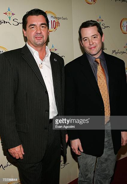 Bruce Two Dogs Bozsum Chairman of the Mohegan Tribal Council and actor Matthew Broderick pose at the Afterglow party during the Mohegan Sun 10th...