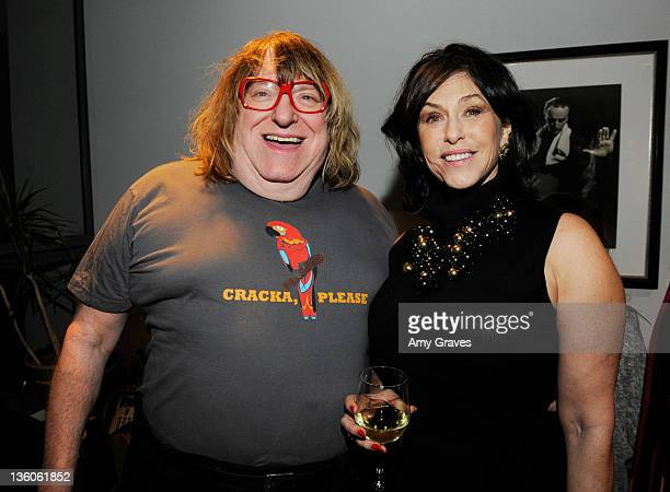 Bruce Vilanch and Liz Levitt Hirsch pose for a photo backstage at The Broad Stage on December 17 2011 in Santa Monica California