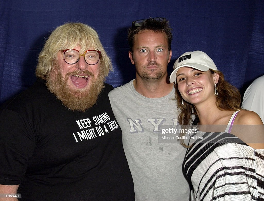 Bruce Vilanch, Matthew Perry and Josie Maran during 2002 Mercedes-Benz Cup - 'A Night at the Net' - Backstage at Los Angeles Tennis Center, UCLA in Los Angeles, California, United States.