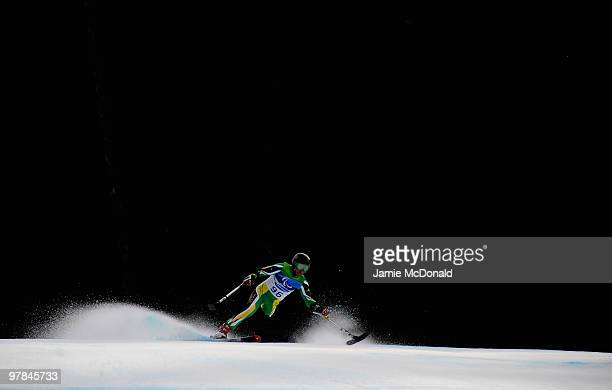 Bruce Warner of South Africa competes in the Men's Standing Downhill during Day 7 of the 2010 Vancouver Winter Paralympics at Whistler Creekside on...