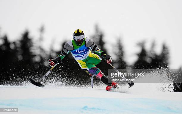 Bruce Warner of South Africa competes in the Men's Standing Super Combined Slalom during Day 9 of the 2010 Vancouver Winter Paralympics at Whistler...