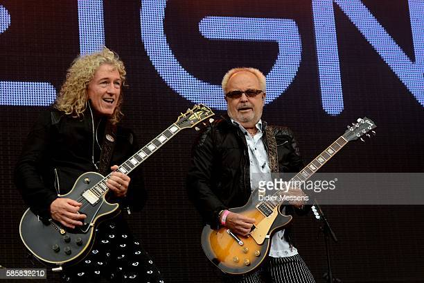 Bruce Watson and Mick Jones from Foreigner perform during the second day of the Wacken Open Air festival on August 4 2016 in Wacken Germany