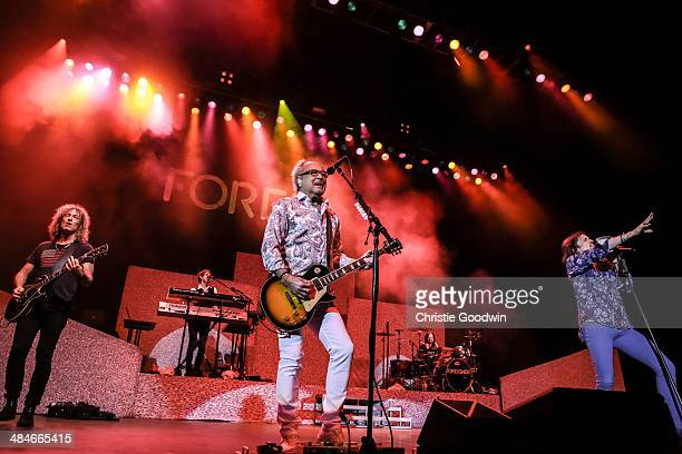 Bruce Watson Michael Bluestein Mick Jones Chris Frazier and Kelly Hansen of Foreigner perform on stage at Eventim Apollo Hammersmith on April 13 2014...