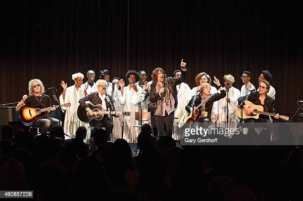 Bruce Watson Mick Jones Kelly Hansen Jeff Pilson and Thom Gimbel of Foreigner perform onstage at the TJ Martell 40th Anniversary NY Gala at Cipriani...
