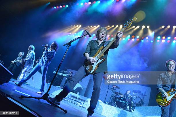 Bruce Watson Mick Jones Kelly Hansen Jeff Pilson Chris Frazier and Thom Gimbel of American rock group Foreigner performing live on stage at the...