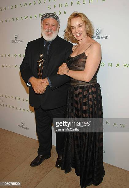 Bruce Weber and Jessica Lange during 2006 CFDA Awards Green Room at New York Public Library in New York New York United States