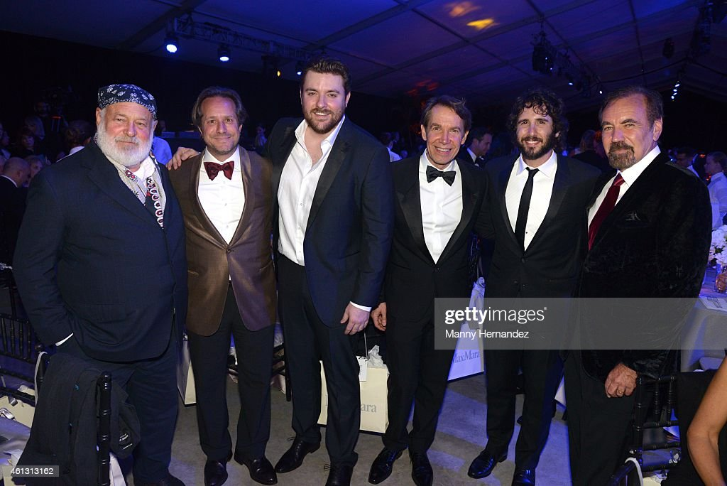 Bruce Weber, Paul Lehr, Chris Young, Jeff Koons, Josh Groban and Jorge Perez attend 2015 YoungArts Backyard Ball at YoungArts Campus on January 10, 2015 in Miami, Florida.