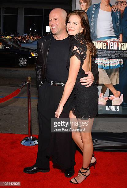 """Bruce Willis and Brooke Burns during """"The Whole Ten Yards"""" World Premiere - Arrivals at Chinese Theatre in Hollywood, California, United States."""