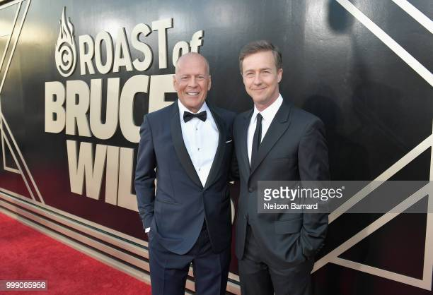 Bruce Willis and Edward Norton attend the Comedy Central Roast of Bruce Willis at Hollywood Palladium on July 14, 2018 in Los Angeles, California.