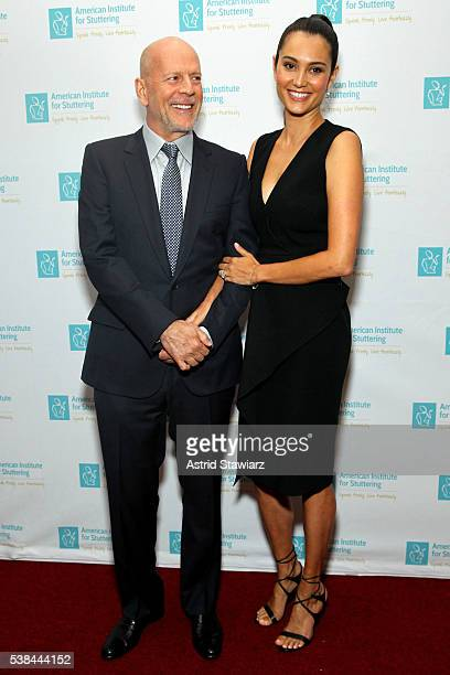 Bruce Willis and Emma Heming attend American Institute for Stuttering Freeing Voices Changing Lives 10th Annual Benefit Gala on June 6 2016 in New...