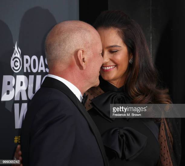 Bruce Willis and Emma Heming attend the Comedy Central Roast of Bruce Willis at Hollywood Palladium on July 14 2018 in Los Angeles California
