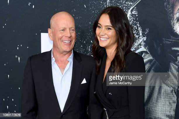 Bruce Willis and Emma Heming attend the Glass New York Premiere at SVA Theater on January 15 2019 in New York City