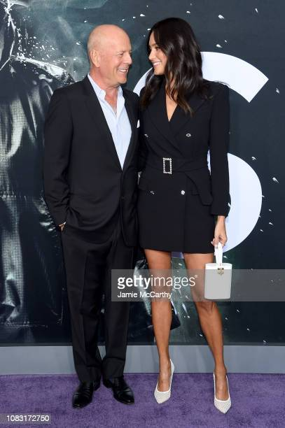 """Bruce Willis and Emma Heming attend the """"Glass"""" New York Premiere at SVA Theater on January 15, 2019 in New York City."""