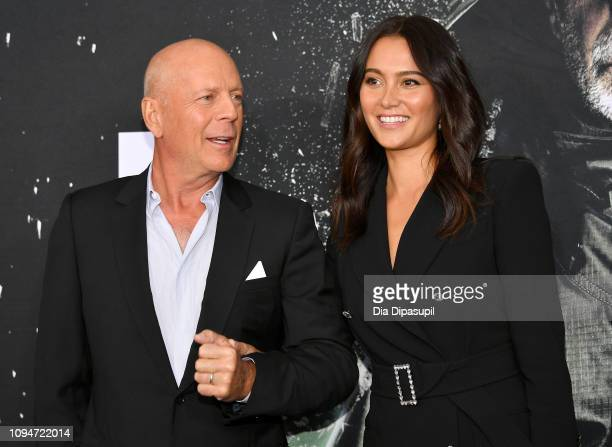 """Bruce Willis and Emma Heming attend the """"Glass"""" NY Premiere at SVA Theater on January 15, 2019 in New York City."""