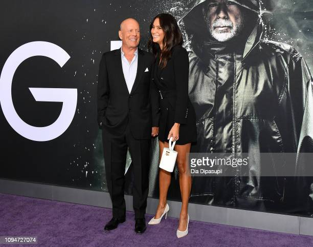 Bruce Willis and Emma Heming attend the Glass NY Premiere at SVA Theater on January 15 2019 in New York City