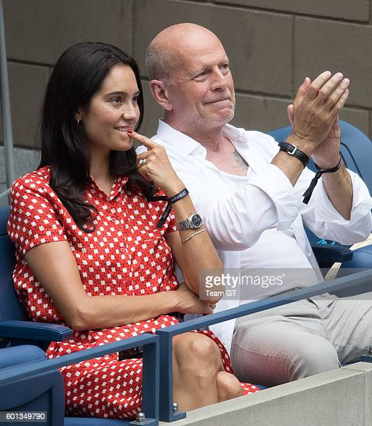 Bruce Willis and Emma Heming seen at USTA Billie Jean King National Tennis Center on September 9 2016 in the Queens borough of New York City