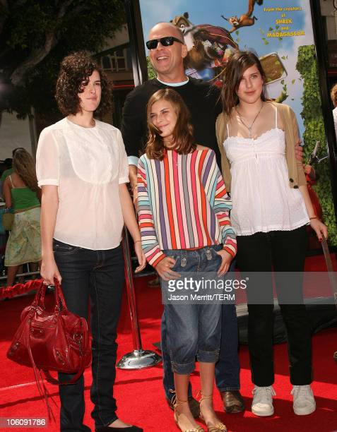 Bruce Willis and family during Dreamworks' Over The Hedge Los Angeles Premiere Arrivals at Mann Village Theatre in Westwood California United States