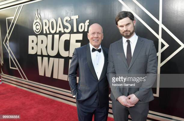 Bruce Willis and Flula Borg attend the Comedy Central Roast of Bruce Willis at Hollywood Palladium on July 14 2018 in Los Angeles California