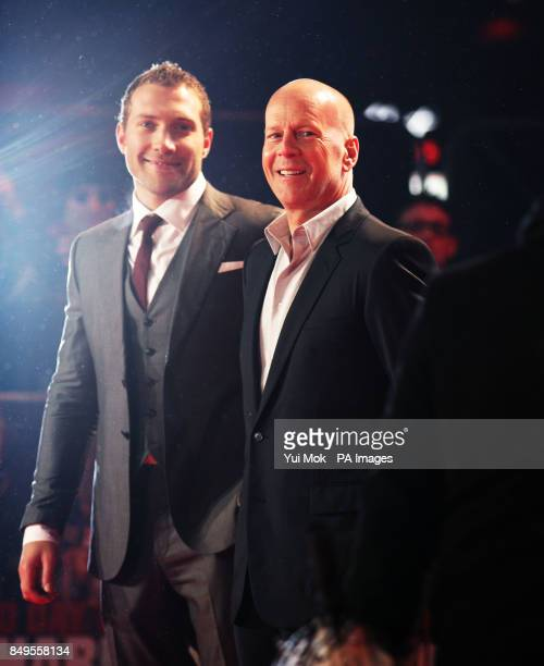 Bruce Willis and Jai Courtney arriving for the UK film premiere of A Good Day To Die Hard at the Empire Leicester Square in central London