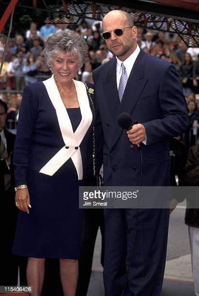 Bruce Willis and mother Marlene during Bruce Willis Footprint Ceremony at Mann's Chinese Theatre in Hollywood California United States