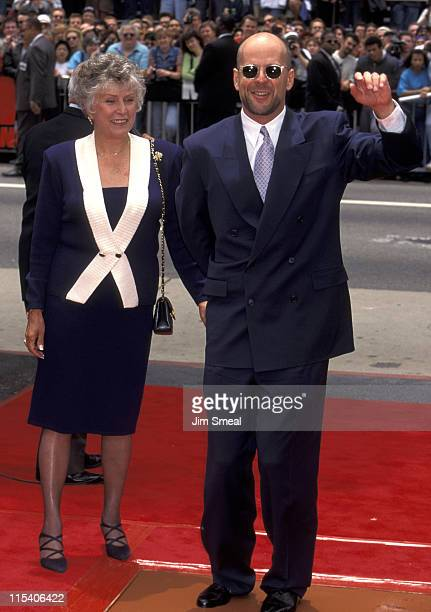 Bruce Willis and mother Marlene Willis during Bruce Willis Footprint Ceremony at Mann's Chinese Theatre in Hollywood California United States