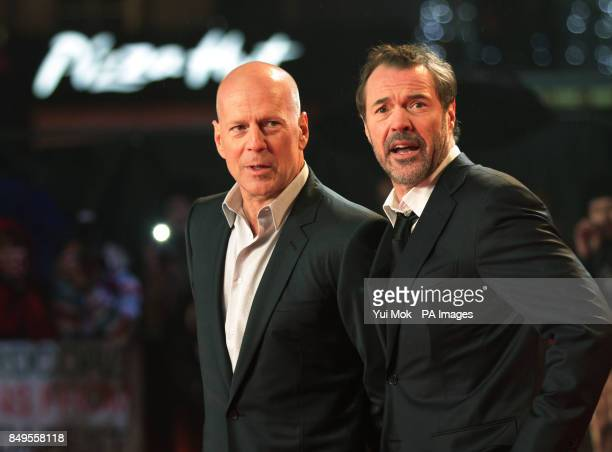 Bruce Willis and Sebastian Koch arriving for the UK film premiere of A Good Day To Die Hard at the Empire Leicester Square in central London