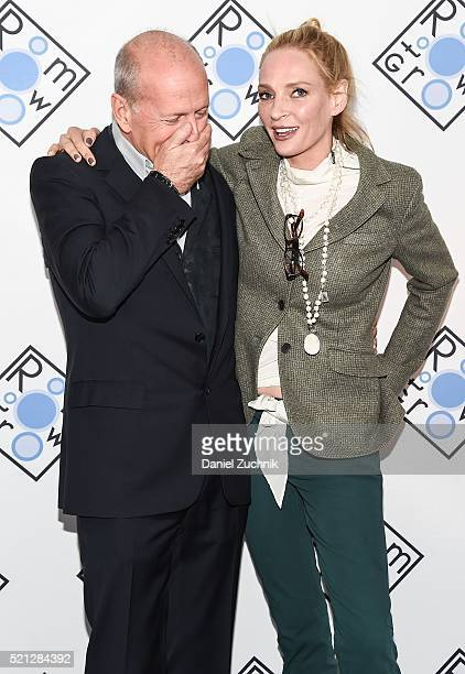 Bruce Willis and Uma Thurman attend the 2016 Room To Grow Spring Benefit at Tribeca Three Sixty on April 14 2016 in New York City
