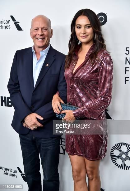 Bruce Willis and wife Emma Heming Willis attend the Motherless Brooklyn Arrivals during the 57th New York Film Festival on October 11 2019 in New...