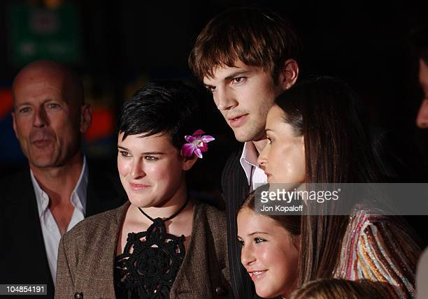 Bruce Willis Ashton Kutcher Demi Moore and kids during Premiere of 'Charlie's Angels Full Throttle' at Grauman's Chinese Theatre in Hollywood...