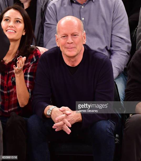 Bruce Willis attends Cleveland Cavaliers Vs New York Knicks game at Madison Square Garden on February 4 2017 in New York City
