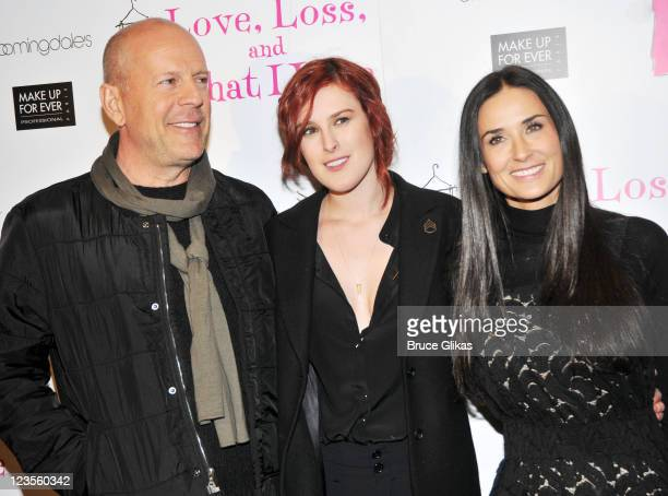 Bruce Willis daughter Rumer Willis and Demi Moore pose at the Love Loss What I Wore new cast member celebration at B Smith's Restaurant on March 24...