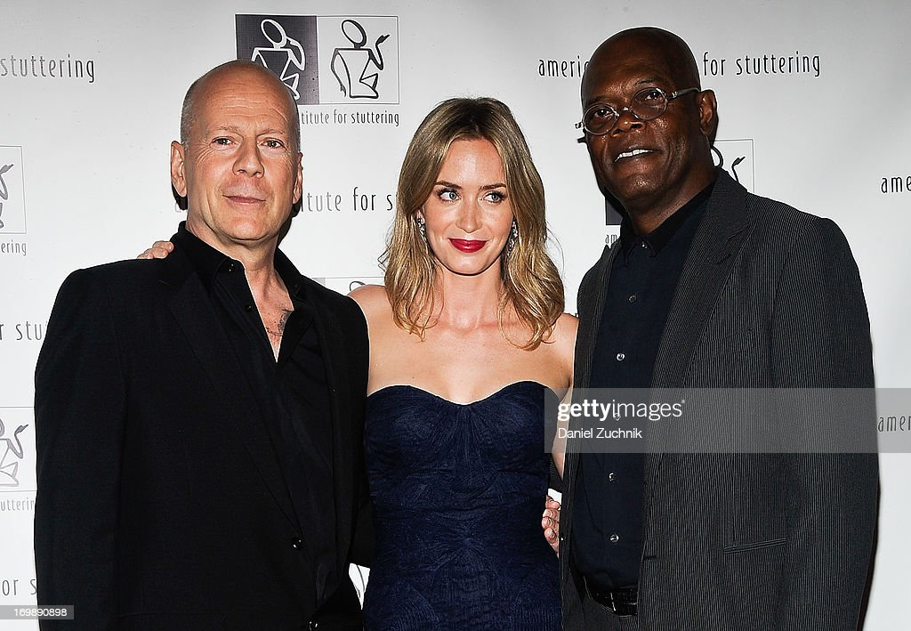 Bruce Willis, Emily Blunt and Samuel L. Jackson attend the 7th Annual 'Freeing Voices, Changing Lives' Benefit Gala at Tribeca Rooftop on June 3, 2013 in New York City.