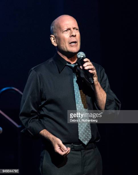 Bruce Willis performs at the 16th Annual A Great Night in Harlem Gala at The Apollo Theater on April 20 2018 in New York City