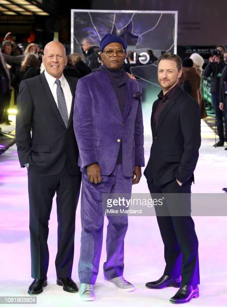 """Bruce Willis, Samuel L Jackson and James McAvoy attend the UK Premiere of """"Glass"""" at The Curzon Mayfair on January 09, 2019 in London, England."""
