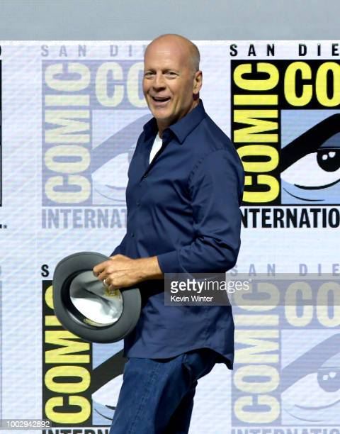 Bruce Willis speaks onstage at the Universal Pictures' Glass and Halloween panels during ComicCon International 2018 at San Diego Convention Center...
