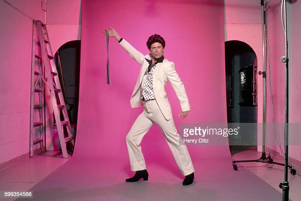 Bruce Willis strikes the pose made famous by John Travolta in Saturday Night Fever for a still to be used in the film The Return of Bruno
