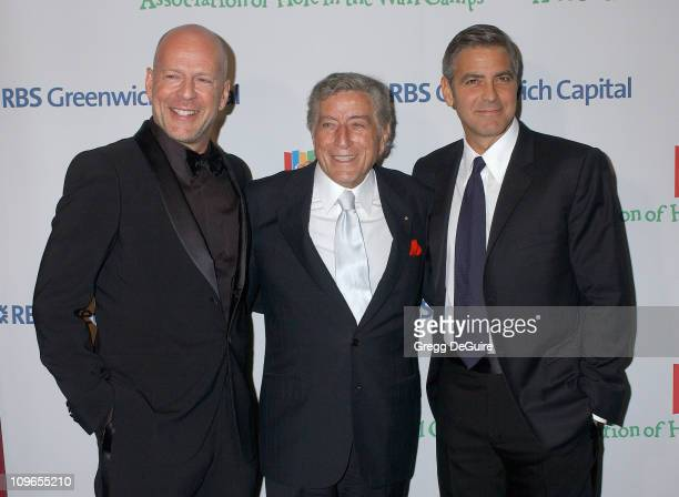 Bruce Willis Tony Bennett and George Clooney during Singers and Songs Celebrate Tony Bennett's 80th to Benefit Paul Newman's Hole in the Wall Camps...