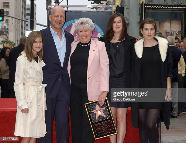 Bruce Willis with his mother Marlene his children Tallulah Willis Rumer Willis and Scout Willis during the Bruce Willis Honored With a Star on The...