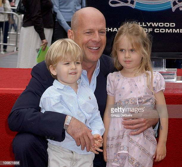 Bruce Willis with his niece and nephew during Bruce Willis Honored With a Star on The Hollywood Walk of Fame at Hollywood Blvd in Hollywood,...