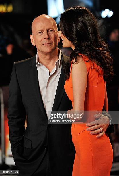 Bruce Willis with wife Emma Heming attends the UK Premiere of 'A Good Day To Die Hard' at Empire Leicester Square on February 7, 2013 in London,...