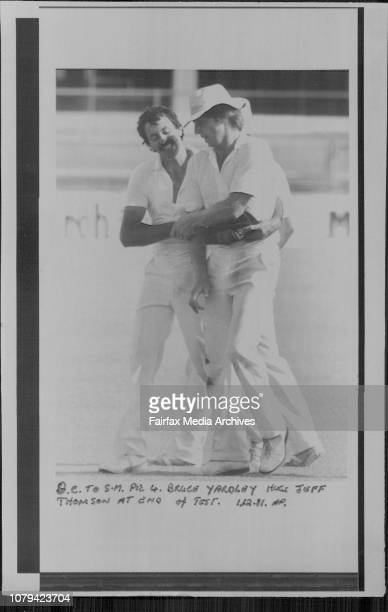 Bruce Yardley hugs Jeff Thomson at end of test November 30 1981