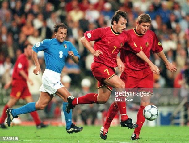 EURO 2000 Bruessel ITALIEN BELGIEN 20 vlnr Antonio CONTE/ITA Marc WILMOTS Gert VERHEYEN/BEL