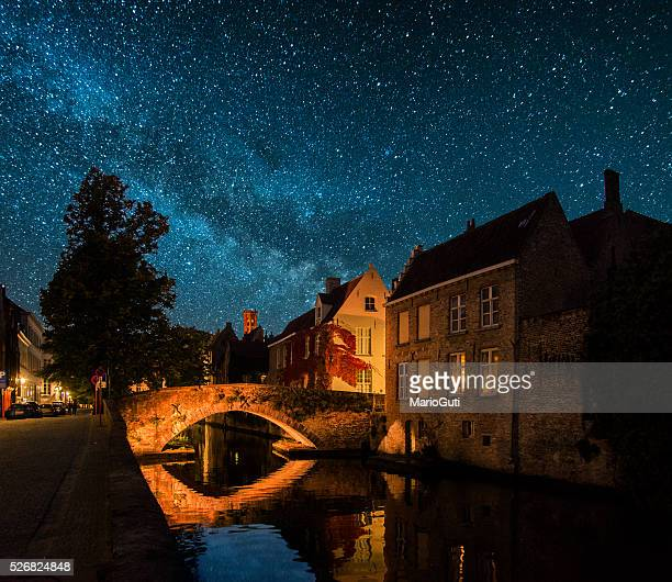 bruges at night - bruges stock pictures, royalty-free photos & images